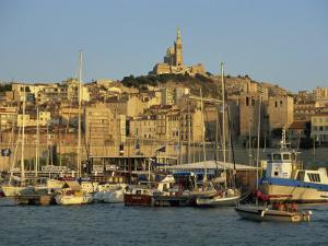 Vieux Port to the Basilica of Notre Dame De La Garde, Marseille, Provence, France by Tomlinson Ruth