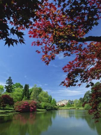 View across Pond to House, Sheffield Park Garden, East Sussex, England, United Kingdom, Europe