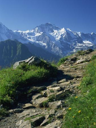 View Along Path to Snow Covered Summit of the Jungfrau, Schynige Platte, Bern, Switzerland
