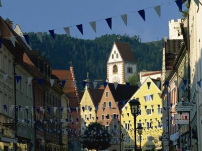 View Along the Reichenstrasse to the Monastery of St. Mang, Fussen, Bavaria, Germany, Europe