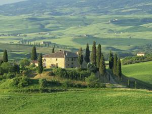 View to Farmhouse in Rolling Hills, Val D'Orcia, San Quirico D'Orcia, Tuscany, Italy, Europe by Tomlinson Ruth