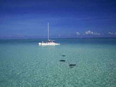 Yacht Moored in the North Sound, with Stringrays Visible Beneath the Water, Cayman Islands