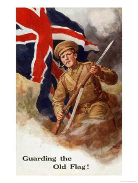 Tommy Guards the Flag with Bayonet in Hand and Pipe in Mouth!