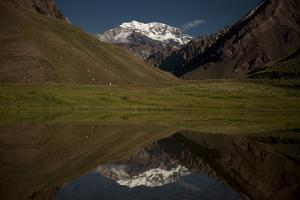 The South Face of Mount Aconcagua Reflects on the Laguna De Los Horcones by Tommy Heinrich