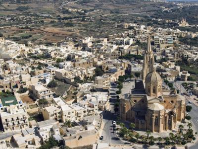 Aerial View of Church of Ghajnsielem, Mgarr, Gozo Island, Malta, Europe