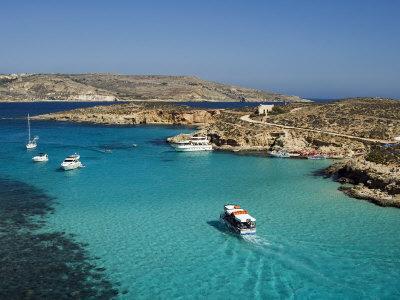 Aerial View of the Blue Lagoon, Comino Island, Malta, Mediterranean, Europe