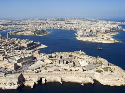 Aerial View of Valletta and St. Elmo Fort, Manoel Island, and Dragutt Point on the Right, Malta