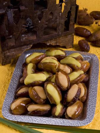 Arabic Food, Dates Stuffed with Almonds Paste, Middle East