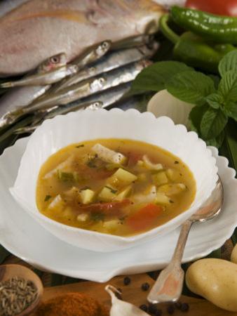 Caldo De Pescado Soup, Food of the Canary Islands, Spain, Europe by Tondini Nico