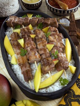 Madagascan Food, Mosakiki, Zebu Skewers with Mango and Rice, Madagascar, Africa