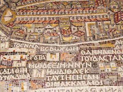 Mosaics Showing Map of Palestine, St. George Orthodox Christian Church, Madaba, Jordan, Middle East by Tondini Nico