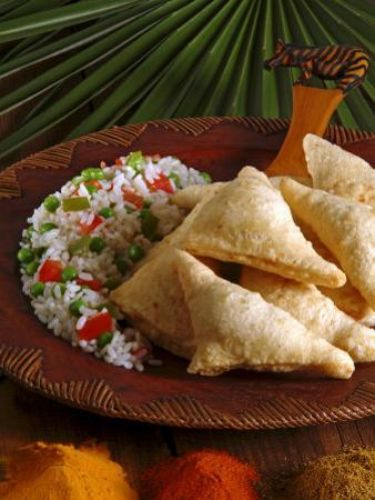 Samosas and Pilau Rice, Kenyan Food, Kenya, East Africa, Africa by Tondini Nico