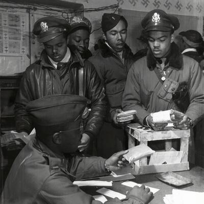 """""""Escape Kits"""" (Cyanide) Being Distributed to Black Fighter Pilots at Air Base in Italy, 1945"""
