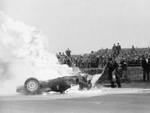 Tony Brooks' Car on Fire at the British Grand Prix, Silverstone, Northamptonshire,1956