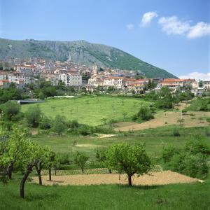 Fields Below the Town of Ortona Dei Marsi in Abruzzo, Italy, Europe by Tony Gervis
