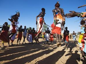 Samburu People Dancing, Laikipia, Kenya by Tony Heald