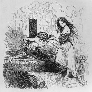 Esmeralda Giving Quasimodo a Drink, Illustration from 'The Hunchback of Notre Dame' by Tony Johannot