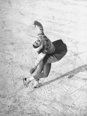 Barbara Ann Scott Making School Figures at the World Figure Skating Contest by Tony Linck