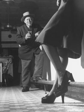 Edward Van Duyne, 105 Years Old, Enjoying a Beer and a Pretty Lady by Tony Linck