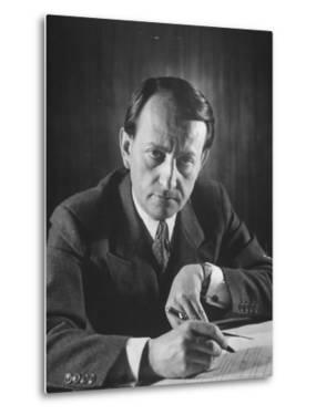 French Author Andre Malraux Working in His Office at RPF Headquarters by Tony Linck