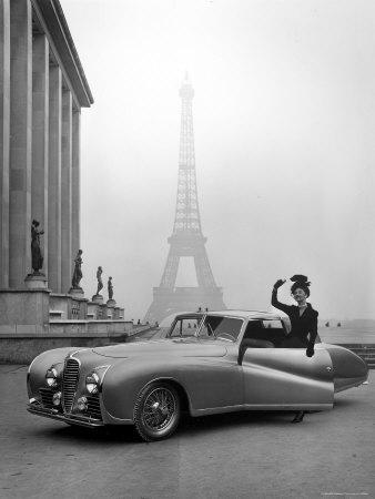 Model Wearing Jacques Fath Ensemble Beside 1947 Model Delahaye Automobile
