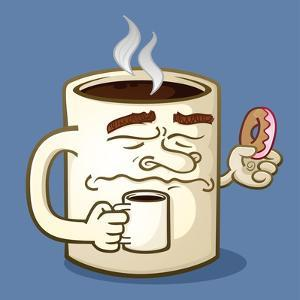 Grumpy Coffee Cartoon Character Eating A Donut by Tony Oshlick