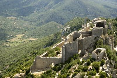 Chateau De Peyrepertuse, a Cathar Castle, Languedoc, France, Europe by Tony Waltham