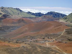 Foot Trail Through Haleakala Volcano Crater Winds Between Red Cinder Cones, Maui, Hawaiian Islands by Tony Waltham