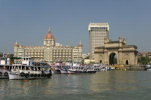 Gateway of India on the Dockside Beside the Taj Mahal Hotel, Mumbai, India, Asia by Tony Waltham