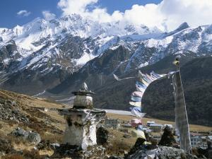 Prayer Flags on Kyanjin Gompa, Langtang, Himalayas, Nepal by Tony Waltham