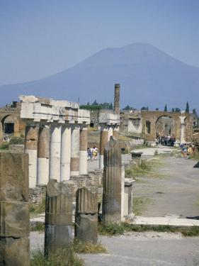 Vesuvius Volcano from Ruins of Forum Buildings in Roman Town, Pompeii, Campania, Italy by Tony Waltham
