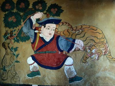 Detail of Wall Painting in Tamzhing Goemba, Choskhor or Bumthang Valley, Jakar, Bumthang, Bhutan