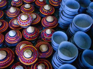 Locally Made Baskets and Ceramic Bowls for Sale in Najran Basket Souq, Najran, Asir, Saudi Arabia by Tony Wheeler