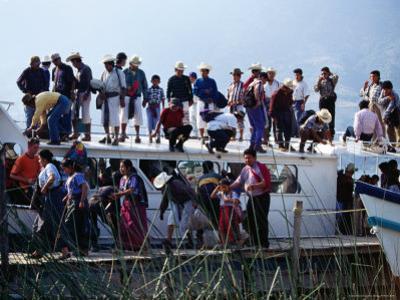 Passengers Standing on Roof of Boat on Lago De Atitlan, Santiago Atitlan, Solola, Guatemala