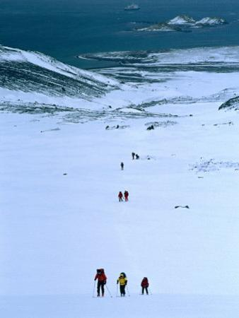 People Trekking Up to Shackleton Gap from Peggotty Camp, South Georgia, Antarctica
