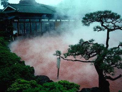Steam Rising from Hot Spring and Baths (Or Jigoku Meaning Hells), Beppu, Kyushu, Japan