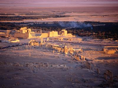 Sunset Over Ruins of Ancient City of 17th Century Arab Castle, Qala'At Ibn Maan, Syria