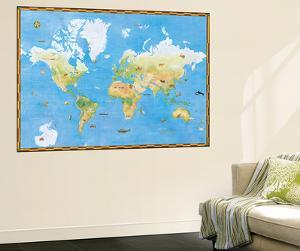 Topographical World Map With Animal Pictures Huge Mural Art Print Poster