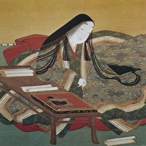 Illustration from 'The Tale of Genji' of Japanese Court Lady of the Heian Period by Tosa Mitsouki