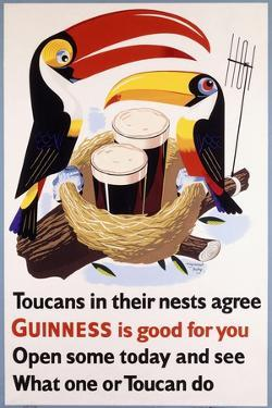 Toucans in their Nests Agree Guinness Is Good for You, 1957 (Lithograph in Colours)