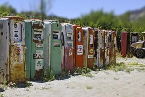 Vintage Gas Pumps Tilt by Toula Mavridou-Messer