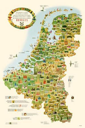 Tourist Map of Belgium, Holland, and Luxemburg