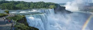 Tourists at a Waterfall, Niagara Falls, Niagara River, Niagara County, New York State, USA