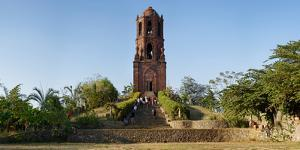 Tourists at Bantay church bell tower, Bantay, Ilocos Sur, Philippines