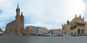 Tourists at St. Mary's Church, St. Mary's Square, Krakow, Poland