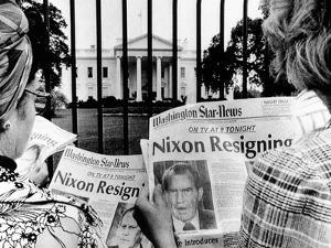 Tourists in Front of the White House Read Headlines, 'Nixon Resigning,' Aug 8, 1974
