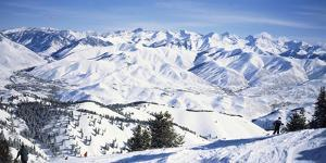 Tourists Skiing in Snow Covered Landscape, Sun Valley, Blaine County, Idaho, USA