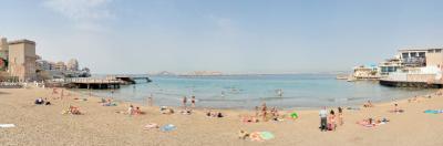 Tourists Sunbathing on the Beach, Catalans Beach, Marseille, Bouches-Du-Rhone, France