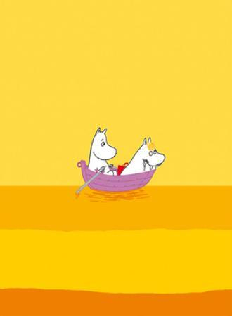 Moomintroll and Snorkmaiden Relaxing in Their Boat by Tove Jansson