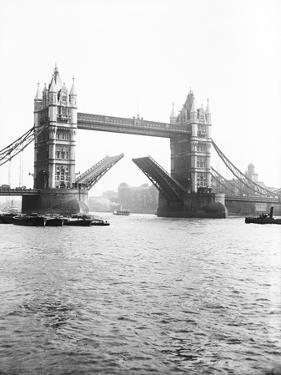 Tower Bridge with Bascules Open, London, C1905